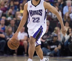 April 5, 2015; Sacramento, CA, USA; Sacramento Kings guard Andre Miller (22) dribbles the basketball during the second quarter against the Utah Jazz at Sleep Train Arena. The Jazz defeated the Kings 101-95.