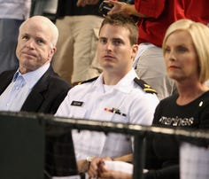 ST. PAUL, MN - SEPTEMBER 01:  Jack McCain and Jimmy McCain, sons of presumptive Republican presidential nominee U.S. Sen. John McCain (R-AZ), attend on day one of the Republican National Convention (RNC) at the Xcel Energy Center September 1, 2008 in St. Paul, Minnesota. The GOP will nominate U.S. Sen. John McCain (R-AZ) as the Republican choice for U.S. President on the last day of the convention.  (Photo by Justin Sullivan/Getty Images)
