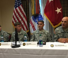 Army cyber and signal leaders (L-R) COL Jennifer Buckner, MG Stephen Fogarty, COL Thomas Pugh and COL Samuel Anderson brief reporters at AFCEA TechNet Augusta on Aug. 26.