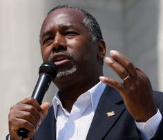 Republican presidential candidate Ben Carson speaks at a rally in Little Rock, Ark., on Thursday.