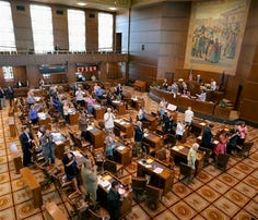 Oregon senators in session Monday at the state capitol in Salem.