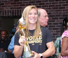 Lori Chalupny and the World Cup Trophy