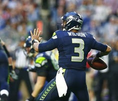 Russell Wilson in Super Bowl action, 2015.