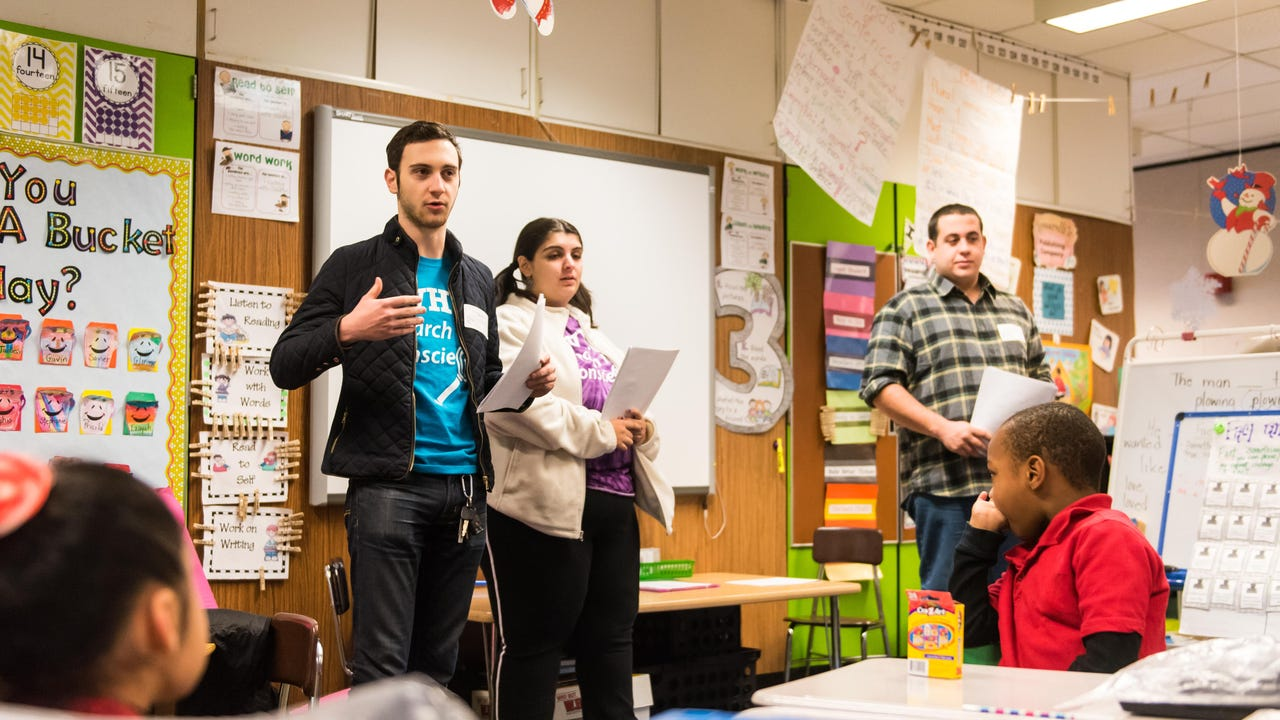 Vineland High School alumni visited Mennies School on Tuesday morning to deliver a message on the negativity of bullying in the world.
