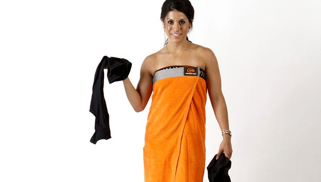 Orange Mud towel makes it easier to change after a race.