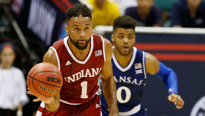 Hoosiers guard James Blackmon Jr. (1) brings the ball up court against the Kansas Jayhawks at the Stan Sheriff Center.