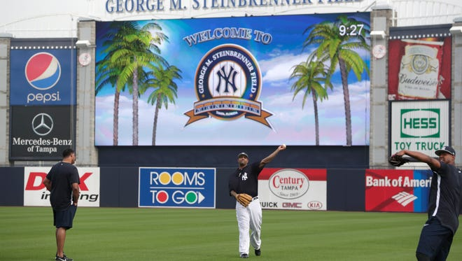 Feb. 13: Yankees starting pitcher CC Sabathia works out at George M. Steinbrenner Field in Tampa.