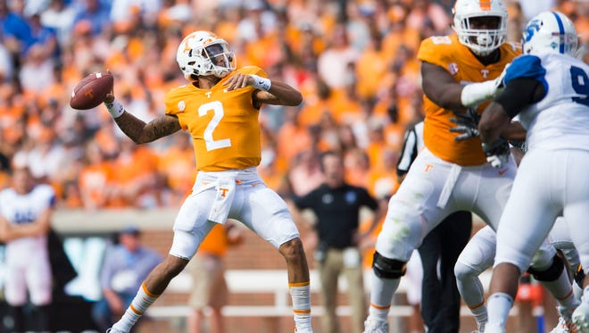 Tennessee quarterback Jarrett Guarantano (2) prepares to throw the ball during the Tennessee Volunteers vs. Indiana State Sycamores game at Neyland Stadium in Knoxville, Tenn. Saturday, Sept. 9, 2017.
