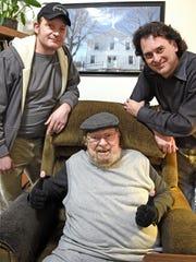 Country/Bluegrass Hall of Famer Mac Wiseman, center,