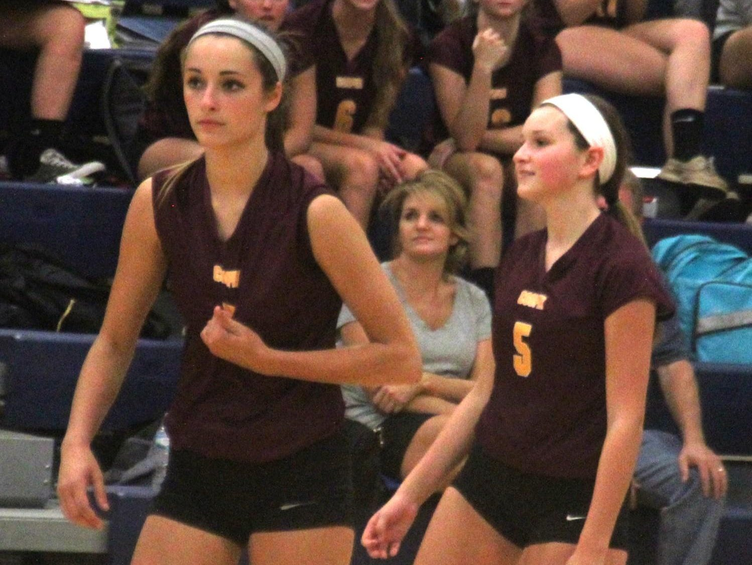 Scott d. Cooper 3-0 in volleyball Sept. 10, 2015 at Scott HS, Taylor Mill. Cooper's Kaity Smith, left, and Madie Buys rally between points.