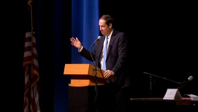 "About 400 were in the audience during a discussion with Florida Senate President Joe Negron and other area politicians Friday, March 17, 2017 at Pahokee Middle/High School in Pahokee. Many Glades residents are upset by the proposal of Senate Bill 10, headed by Negron, that would take 60,000 acres out of production in order to minimize Lake Okeechobee water being discharged to the east and west. ""Every community has a responsibility,"" Negron told the crowd."