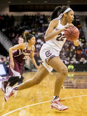 Jan 26, 2015; Columbia, SC, USA; South Carolina Gamecocks guard/forward A'ja Wilson (22) dribbles the ball against the Texas A&M Aggies.