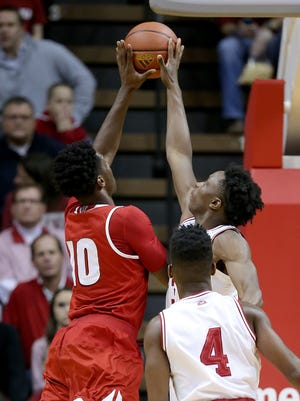 Indiana Hoosiers forward O.G. Anunoby (3) blocks the shot by Wisconsin Badgers forward Nigel Hayes (10) in the first half of their game. The Indiana Hoosiers hosted the Wisconsin Badgers in a Big 10 basketball game Tuesday, Jan 5, 2016, evening at Assembly Hall in Bloomington IN.