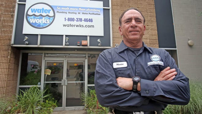 Michael Medaglia, owner of Waterworks Plumbing Heating and Air Conditioning, is photographed outside his store in Westwood New Jersey, on June 5, 2015.