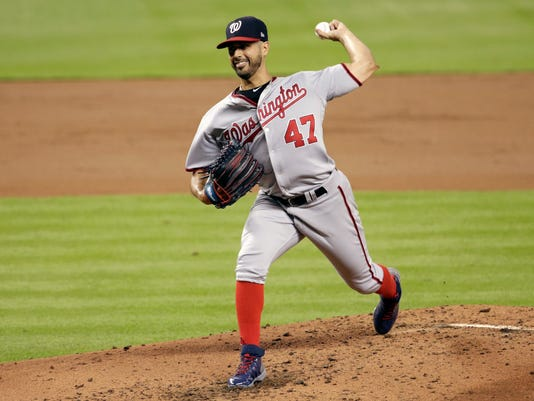 Washington Nationals starting pitcher Gio Gonzalez (47) delivers during the second inning of a baseball game against the Miami Marlins, Monday, July 31, 2017, in Miami. (AP Photo/Lynne Sladky)
