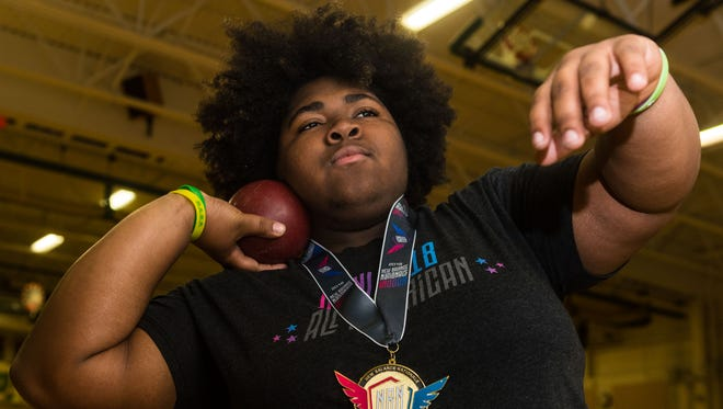 Schalick's Zyra Thomas won a national indoor title in the shot put last weekend.