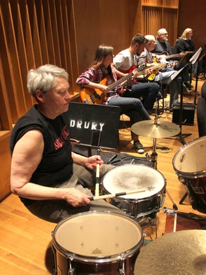 The band, with Teresa Hornsby on drums, supports the
