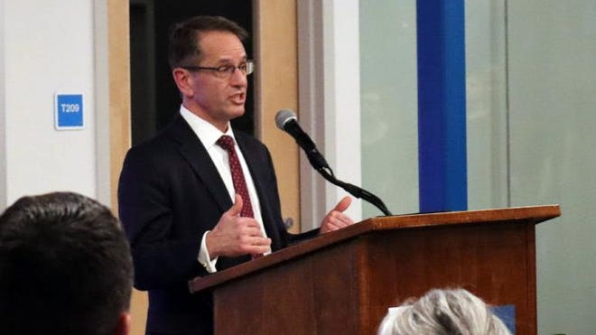 """New Hampshire Department of Education Commissioner Frank Edelblut, seen speaking in Rochester, acknowledges """"probably the communication wasn't great"""" with local school districts like Rochester on the capacity for remote learning at the Virtual Learning Academy Charter School."""