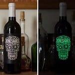 The label of the 2013 Boneshaker red zinfandel glows in the dark.