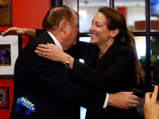 Former governor Richard Codey gives a hug to Democratic congressional candidate Mikie Sherrill at the Florham Park Diner, joining dozens of Democrats to endorse Sherrill to oppose the 11th districts Rep. Rodney Frelinghuysen in 2018. December 5, 2017. Florham Park, New Jersey