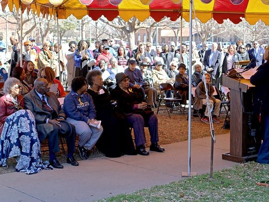 Almost 100 people, including Marilyn Menefee Billouin (seated on the far left of the front row) gather near Midwestern State University's Ferguson building Saturday morning during a marker dedication ceremony. The marker, awarded by the Texas Historical Commission, commemorated the desegregation of Midwestern University. Billouin is the last living plaintiff of the six students who filed a lawsuit after being denied admission to then-Midwestern University.