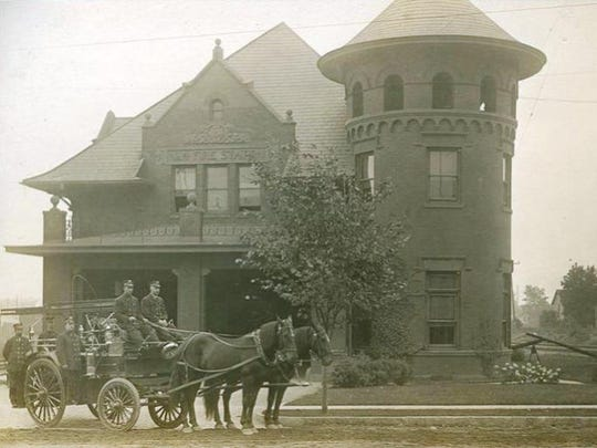 Fire Station No. 4 in a photo from the days before 1917 when it still operated with horse-drawn equipment.