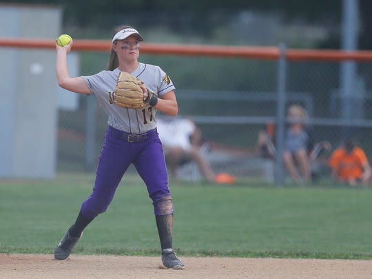 Johnston's Brooke Wilmes makes a play from the infield