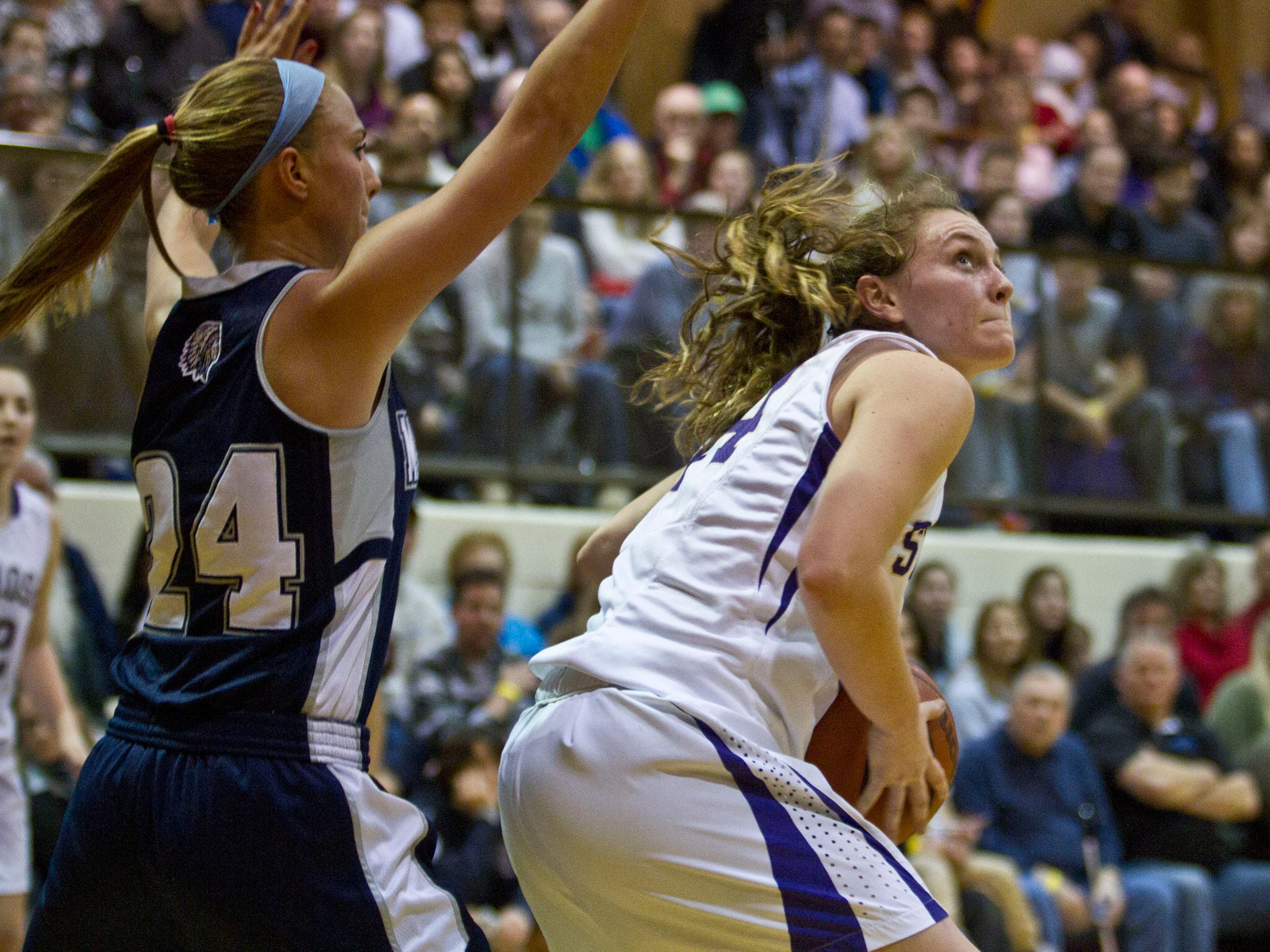 Manasquan's Courtney Hagaman defends as St. Rose's Kat Phipps looks to shoot in Saturday's game.