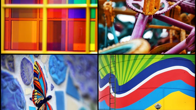 The future of public art in Memphis is looking up with UrbanArt Commission celebrating 20 years. Here are a few artistic landmarks that Memphians see every day: Reading Room by Nancy Cheairs at the Hooks Central Library (top left), Overton Park Bike Gate by Tylur French,  Tree of Life by Kristi Duckworth at Cancer Survior's Park, Broad Avenue Water Tower by Tylur French (bottom right).