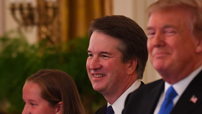 At the White House, President Donald Trump announces his nomination of Brett Kavanaugh for the Supreme Court of the United States.