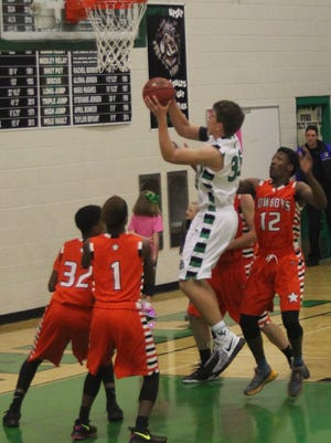 Virgin Valley's Reid Jensen pulls down a rebound against Chaparral during a recent Sunrise Conference game.