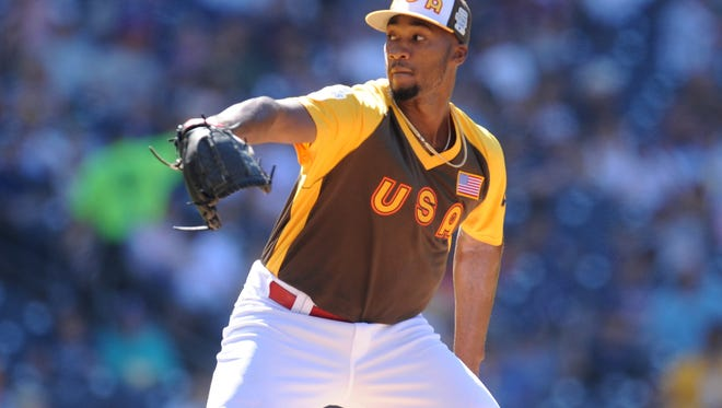 USA pitcher Amir Garrett throws a pitch in the second inning during the All Star Futures game at PetCo Park.