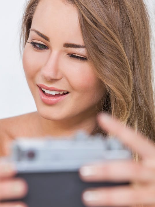 Winking Girl Woman Taking Selfie Picture