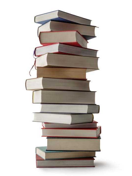 Office: Stack of Books Isolated on White Background
