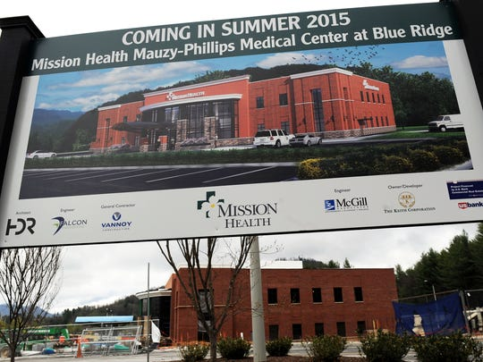 The new Mission Health Mauzy-Phillips Medical Center next to the Blue Ridge Regional Hospital is nearing completion in Spruce Pine.