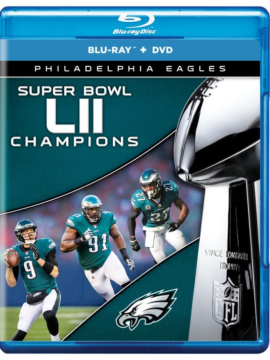 This image provided by NFL Films/Cinedigm shows the cover of the Philadelphia Eagles Super Bowl champions Blu-Ray and DVD package. The DVD becomes available to the public on Tuesday, March 6, 2018. (NFL Films/Cinedigm via AP)