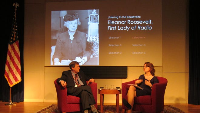 """Library Director Paul Sparrow and Professor Anya Luscombe lead a program called, """"Listening to the Roosevelts"""" program at the Franklin D. Roosevelt Library in March 2016."""