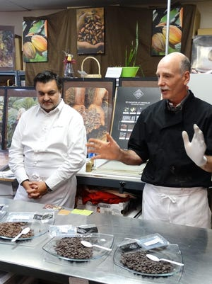 Michael Canzano (right), owner of J. Emanuel Chocolatier in Chester, welcomed Laurent Carratie, a 5th generation pastry chef and famous French chocolatier, to demonstrate French chocolate-making techniques during a 'Taste & Learn' event at J. Emanuel on October 2.