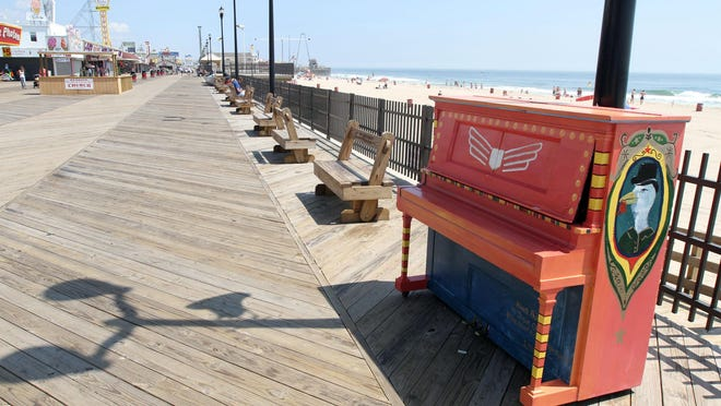 A painted piano on the Seaside Heights boardwalk near Lincoln Avenue is a remnant of the Gentlemen of the Road concert weekend.