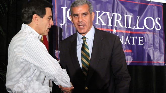 Bill Palatucci (L) and Joe Kyrillos (Thomas Costello, APP Photo)