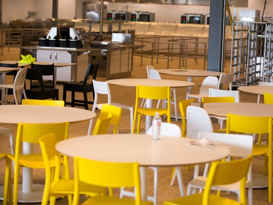 The cafeteria area in the under-installation Ikea,