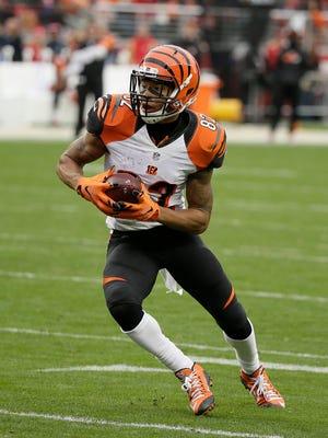 Cincinnati Bengals wide receiver Marvin Jones plays against the San Francisco 49ers in Santa Clara, Calif., on Dec. 20, 2015.