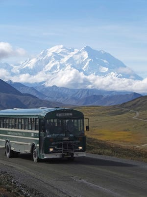 A shuttle bus carrying tourists makes its way along the park road with North America's tallest peak, Denali, in the background, in Denali National Park and Preserve, Alaska.