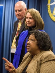 Ella Bell, Stephanie Bell and Michael Sentance during a press conference following the meeting of the State Board of Education in Montgomery, Ala., on Wednesday January 12, 2016.