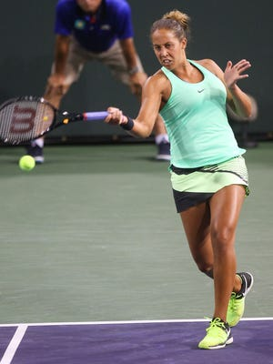 Madison Keys hits a forehand during her win over Naomi Osaka at the BNP Paribas Open in Indian Wells, March 13, 2017.