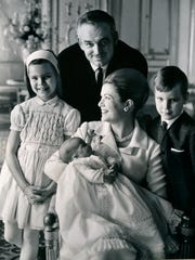 Prince Rainier of Monaco, with Princess Grace and their