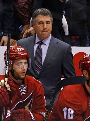 Arizona Coyotes head coach Dave Tippett against the Los Angeles Kings in their NHL game Saturday, Oct. 11, 2014 in Phoenix, Ariz.
