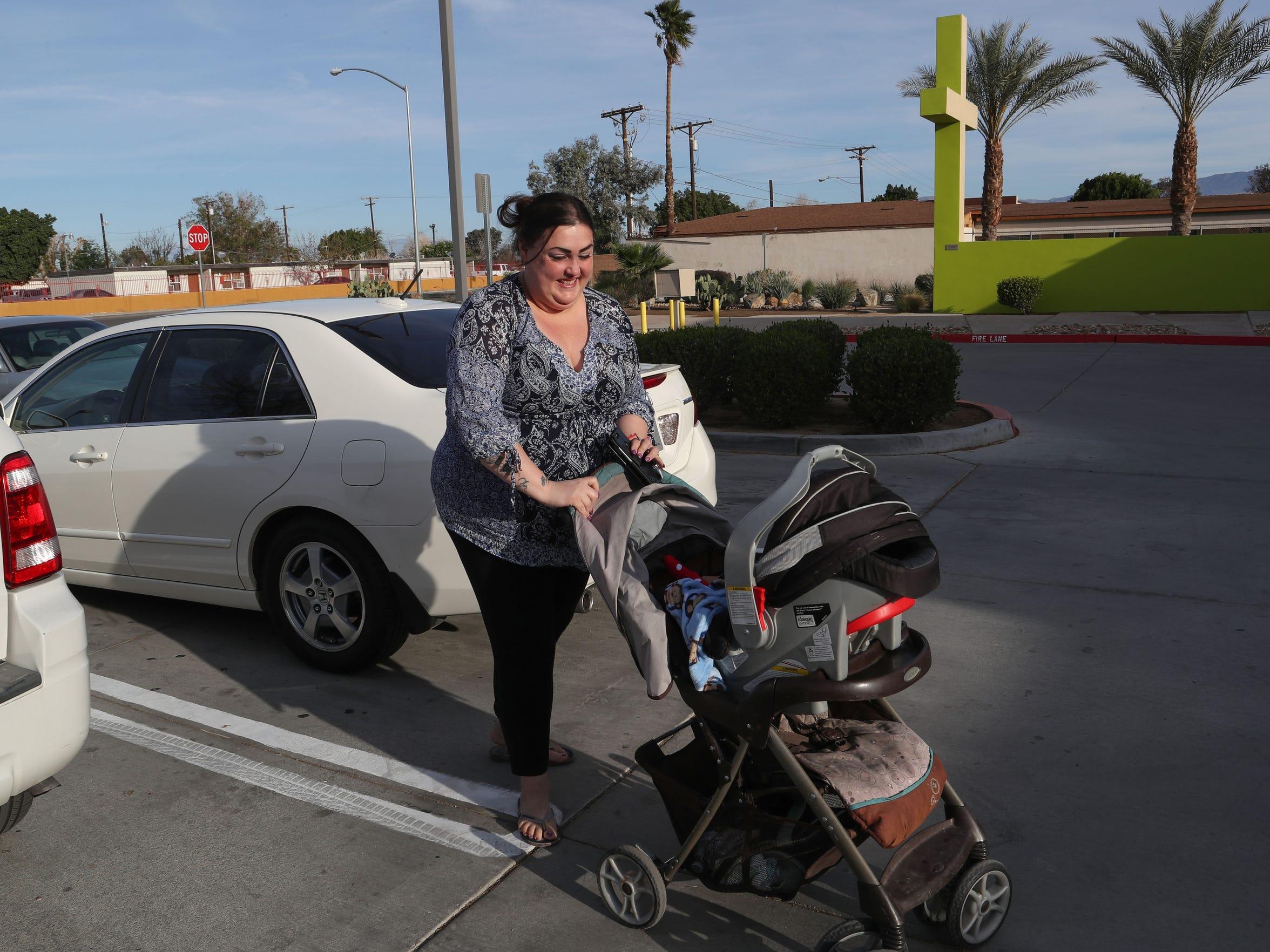 Monica Rubio walks into the Coachella Valley Rescue Mission, March 15, 2018.