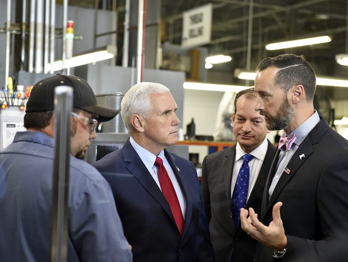 U.S. Vice President Mike Pence takes a tour with U.S.