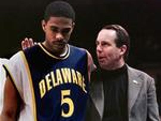 Mike Pegues during his UD playing days with coach Mike Brey.
